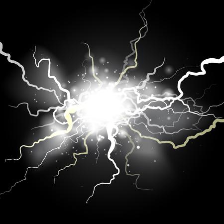 Half transparent lightning bolt on dark transparent background. Thunderbolt electric charge with cloud. Vector illustration for your graphic design. Illustration