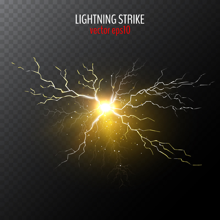 Abstract yellow lightning bolt isolated on half transparent background. Vector illustration for your graphic design Vektoros illusztráció