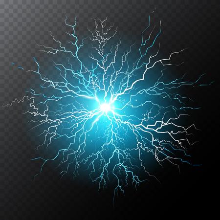 Half transparent lightning bolt on dark transparent background. Light blue thunderbolt with cloud. Vector illustration for your graphic design.