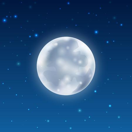 Vector full glowing realistic moon with stars on dark blue night sky. Vector illustration for your graphic design. Vektoros illusztráció