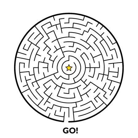 Rundes Labyrinthpuzzlespiel lokalisiert auf weißem Hintergrund. Vektorillustration für Ihr Grafikdesign.