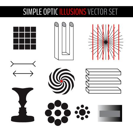 Ensemble de diverses illusions d'optique simples. Illustration vectorielle pour votre conception graphique.