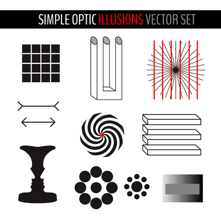 Set of various simple optical illusions. Vector illustration for your graphic design.
