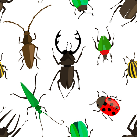 Cartoon seamless pattern with colorful insects. Bugs repetitive background. Vector illustration for your graphic design.  イラスト・ベクター素材