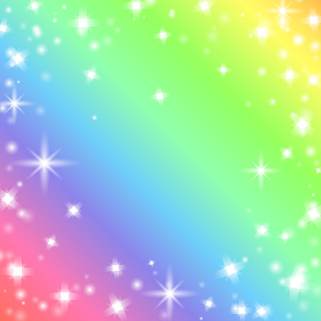 Bright and colorful funny rainbow background with stars and light sparkles. Rainbow meme backdrop. Vector illustration for your graphic design.