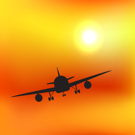 Air plane silhouette in orange sunset sky. Vector illustration for your graphic design. Çizim