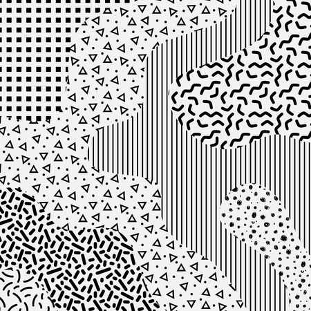 Memphis 80s style black and white background with geometric elements. Grey scale modern backdrop. Vector illustration for your graphic design.