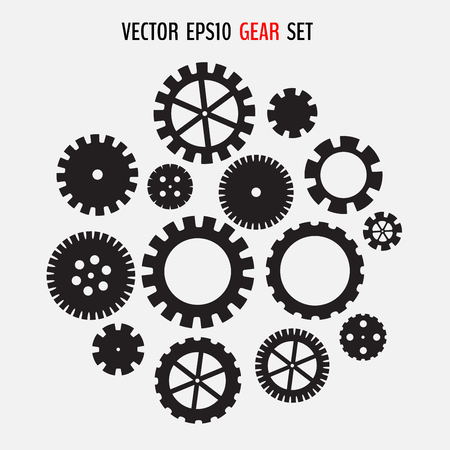 Simple cogwheel set. Various gears silhouettes isolated on light background. Vector illustration for your graphic design. Ilustração
