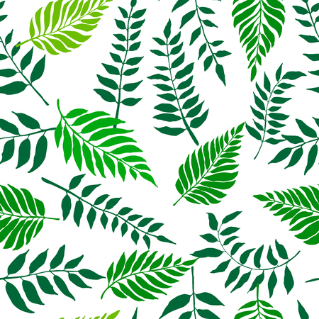 Seamless nature pattern with fresh green leaves. Botanical summer pattern. Vector illustration for your graphic design. Иллюстрация