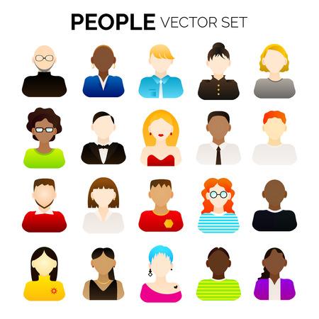 Conjunto de varias personas de dibujos animados de vector. Varios avatares. Ilustración de vector para su diseño gráfico. Ilustración de vector