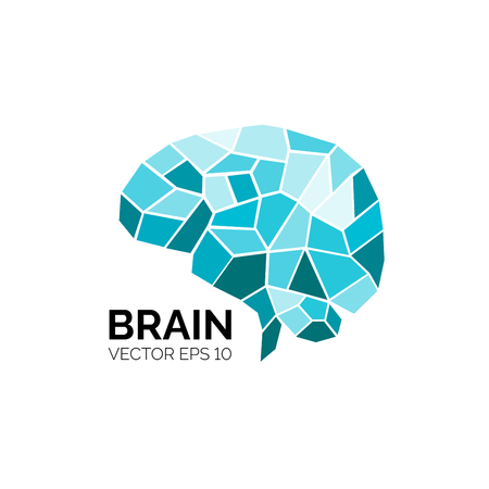 Colorful symbol of brain isolated on white background. Vector illustration for your graphic design. Ilustração