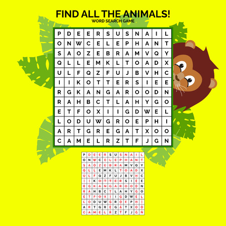 Word search game about animals with solution. Vector illustration for your graphic design. Ilustrace