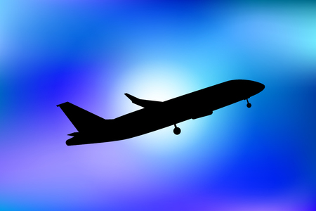 Air plane silhouette in blue night sky. Vector illustration for your graphic design. Illustration