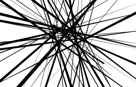 Chaotic abstract black and white background. Abstract random irregular lines. Vector illustration for your graphic design.