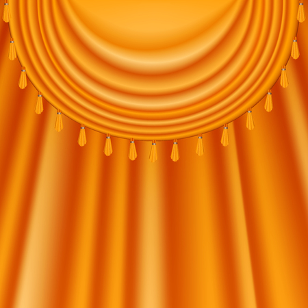Orange satin curtains background. Festive theatre scene with silky yellow curtains with fringes. Vector illustration for your graphic design. 写真素材 - 122344968