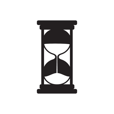 Simple hourglasses icon isolated on white background. Hourglass black silhouette. Vector illustration for your graphic design. Çizim