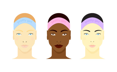 Set of girls faces ready for beauty routine. Black, asian and white girls portraits isolated on white background. Vector illustration for your graphic design. Ilustração