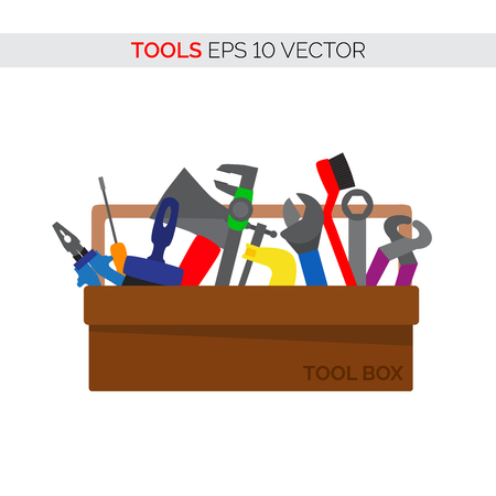 Cartoon vector tool box of various repair and carpentry tools. Vector illustration for your graphic design.