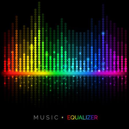 Fondo variopinto dell'equalizzatore di musica di vettore astratto. Visualizzazione del suono. Illustrazione vettoriale per il tuo design grafico. Vettoriali