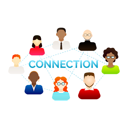 Connection concept. Various people connected through net. Vector illustration for your graphic design.