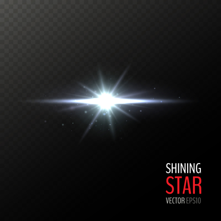 Vector shining white star. Half transparent shining bright abstract star. Cold white magic explosion. Vector illustration for your graphic design. 向量圖像