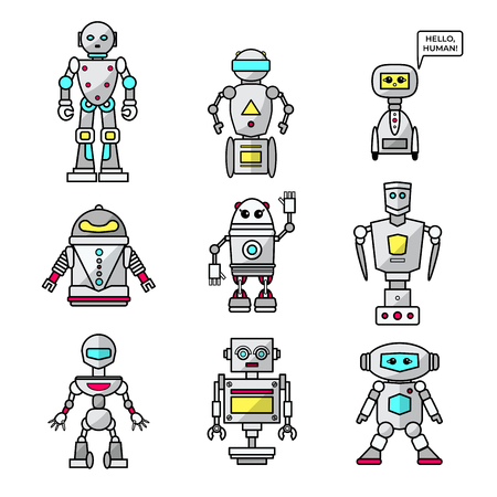 Set of vector cartoon friendly robots isolated on white background. Vector illustration for your graphic design. Illustration