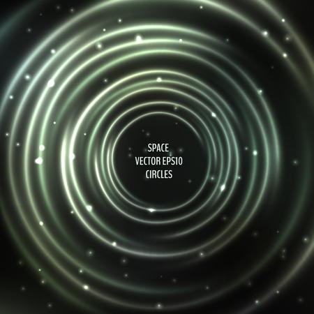 Fondo cósmico abstracto con círculos de luz. Marco espacial brillante y estrellado. Ilustración de vector para su diseño gráfico.