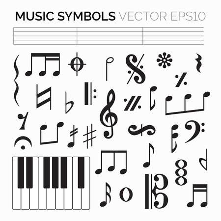 Ensemble de signes et symboles de musique noire, clefs et codas isolés sur fond blanc. Illustration vectorielle pour votre conception graphique.