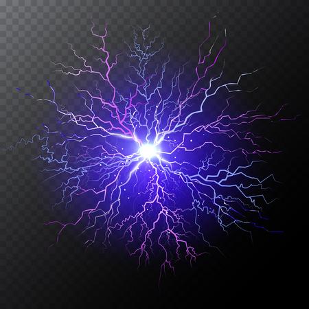 Half transparent purple lightning bolt on dark transparent background. Violet thunderbolt with cloud. Vector illustration for your graphic design.