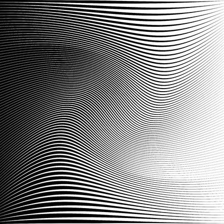 Black and white curved stripes background. Vector illustration for your graphic design.