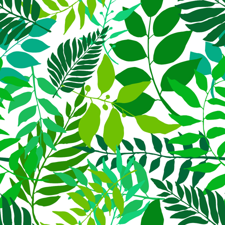 Bright green seamless background with fresh leaves. Various foliage repetitive pattern. Vector illustration for your graphic design. Illustration