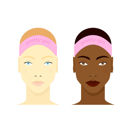Set of girls faces ready for beauty routine. Black and white girls portraits isolated on white background. Vector illustration for your graphic design.