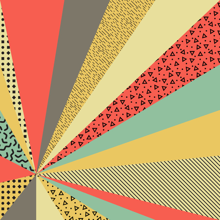 Textured colorful retro background with Memphis style elements. Vector illustration for your graphic design.