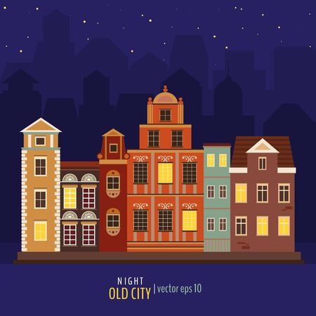 Vector illustration of old night city. Cute colorful buildings in the night. Vector illustration for your graphic design. Illustration