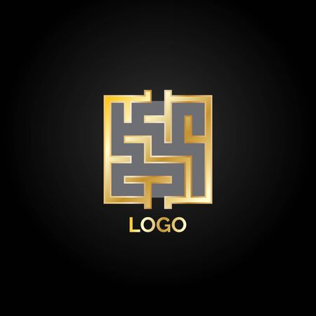 Golden luxury square maze logo isolated on black background. Abstract riddle logotype.  Vector illustration for your graphic design. 向量圖像