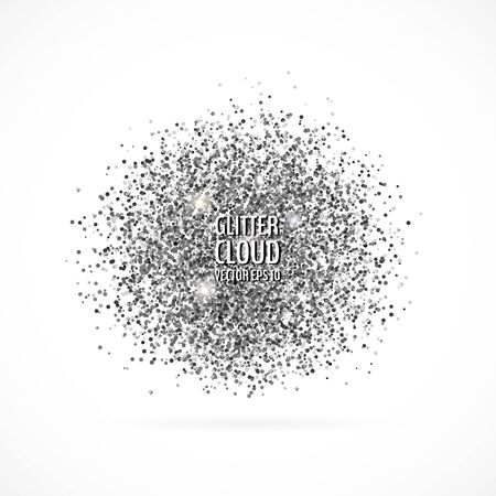 Bright grey shining cloud background. Glittering particles round backdrop. Vector illustration for your graphic design. 向量圖像