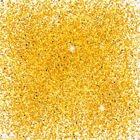 Bright golden shining dust background. Glittering backdrop with particles. Vector illustration for your graphic design.