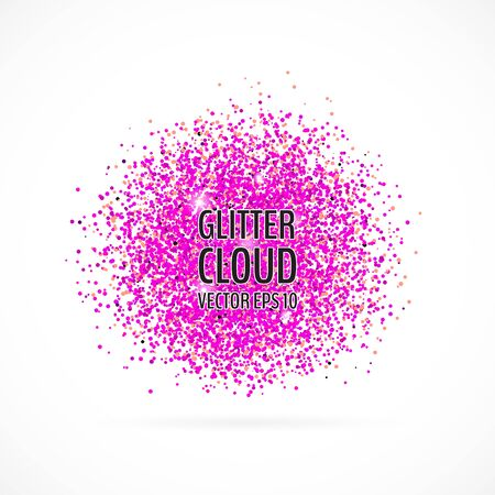 Bright purple shining cloud background. Glittering particles round backdrop. Vector illustration for your graphic design. 向量圖像