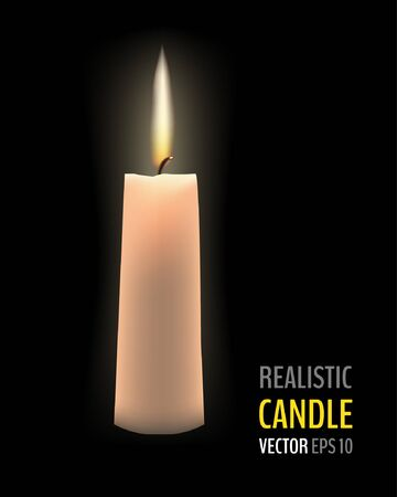 Realistic burning candle on black background. Vector illustration for your graphic design.