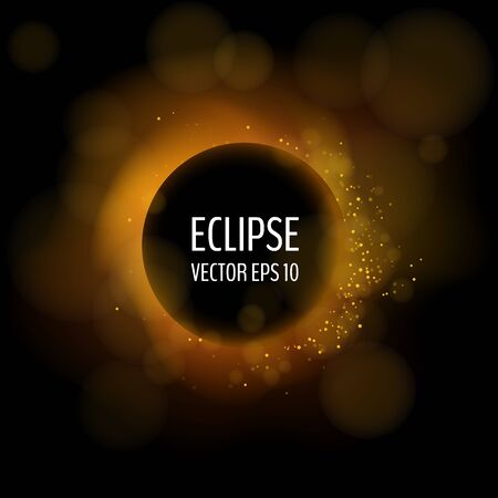 Total eclipse on dark background. Vector illustration for your graphic design.