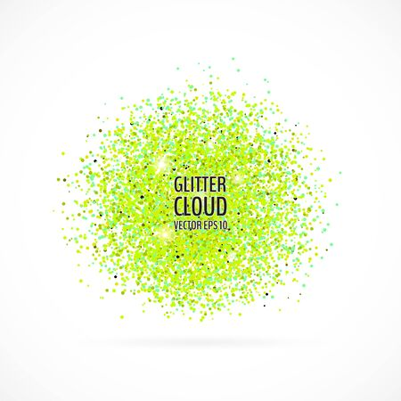 Bright green shining cloud background. Glittering particles round backdrop. Vector illustration for your graphic design. 向量圖像