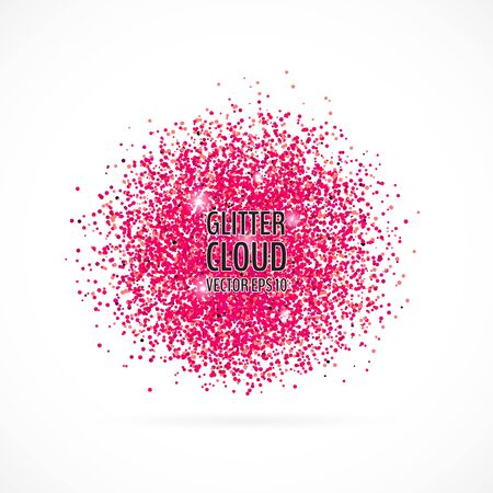 Bright pink shining cloud background. Glittering particles round backdrop. Vector illustration for your graphic design.