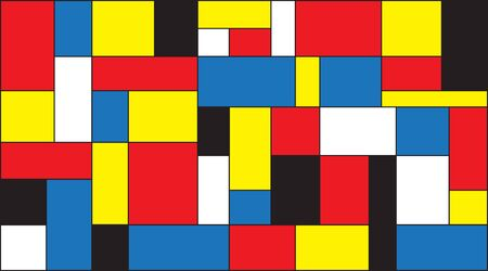 Colorful color blocks background in mondrian style. Vector illustration for your graphic design.