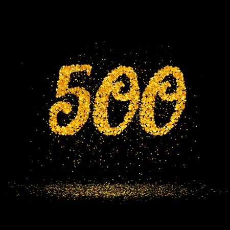 Beautiful card with number 400 made with little glitter gold circles with falling glittery particles. Golden five hundreds on black background. Vector illustration for your graphic design. 向量圖像