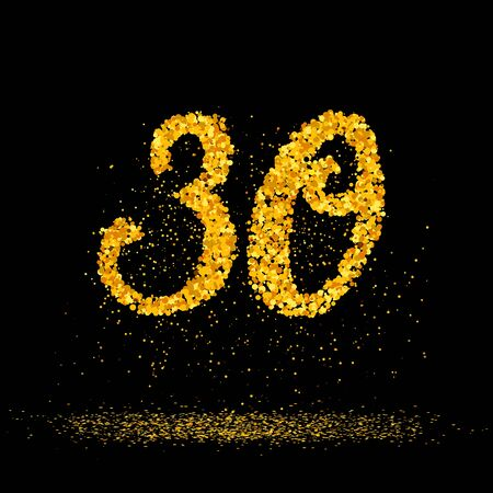 Beautiful card with number 30 made with little glitter gold circles with falling glittery particles. Golden thirty on black background. Vector illustration for your graphic design.