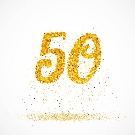 Beautiful card with number 50 made with little glitter gold circles with falling glittery particles. Golden fifty on white background. Vector illustration for your graphic design.