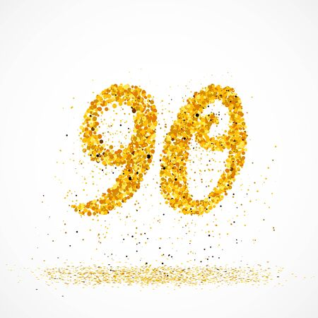 Beautiful card with number 90 made with little glitter gold circles with falling glittery particles. Golden ninety on white background. Vector illustration for your graphic design.