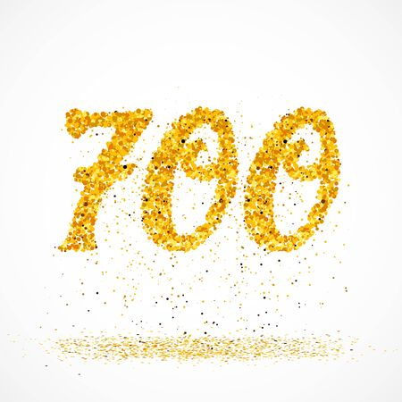 Beautiful card with number 700 made with little glitter gold circles with falling glittery particles. Golden seven hundreds on white background. Vector illustration for your graphic design. 向量圖像