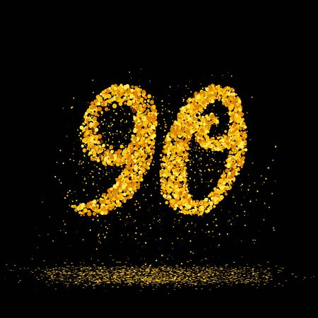 Beautiful card with number 90 made with little glitter gold circles with falling glittery particles. Golden ninety on black background. Vector illustration for your graphic design.