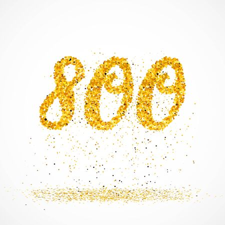 Beautiful card with number 800 made with little glitter gold circles with falling glittery particles. Golden eight hundreds on white background. Vector illustration for your graphic design.